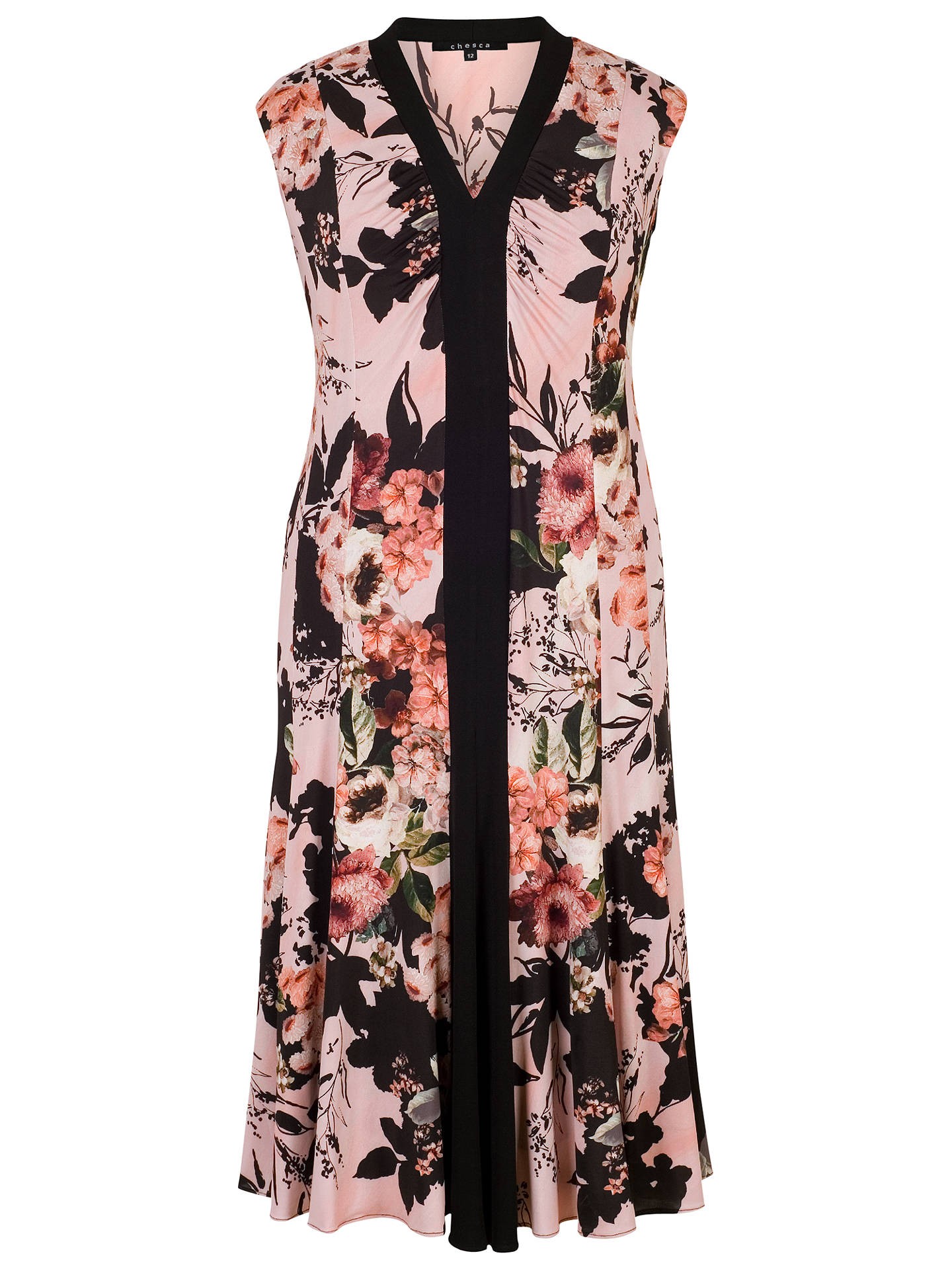 840fe34ae3e1a Buy Chesca Rose Print Jersey Dress, Apricot, 14 Online at johnlewis.com ...