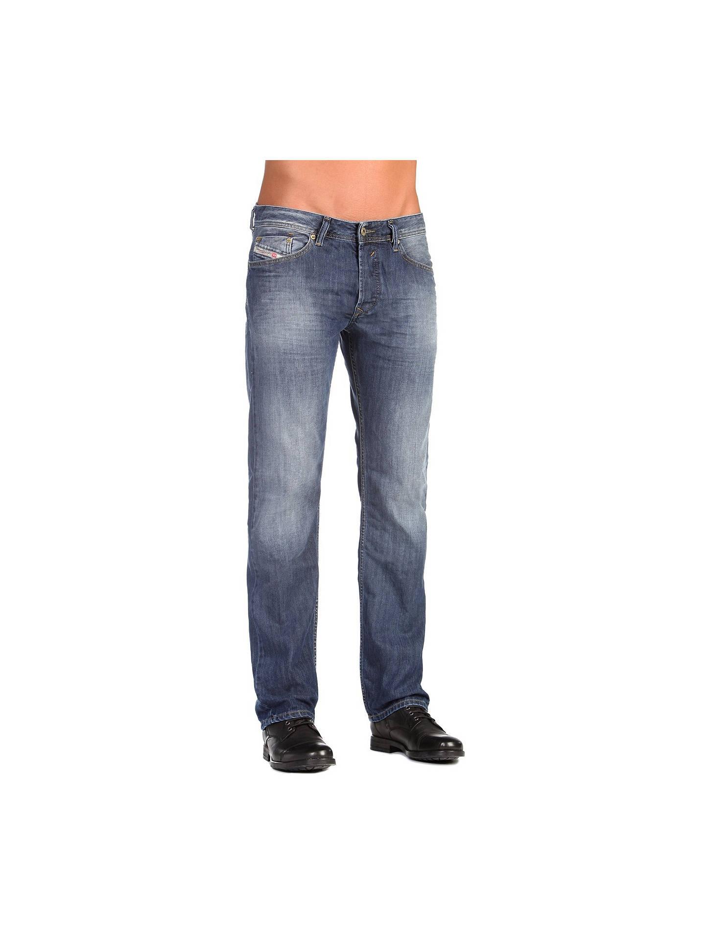3de76b1e Buy Diesel Waykee 0855L Straight Jeans, Mid Blue Wash, 30R Online at  johnlewis.