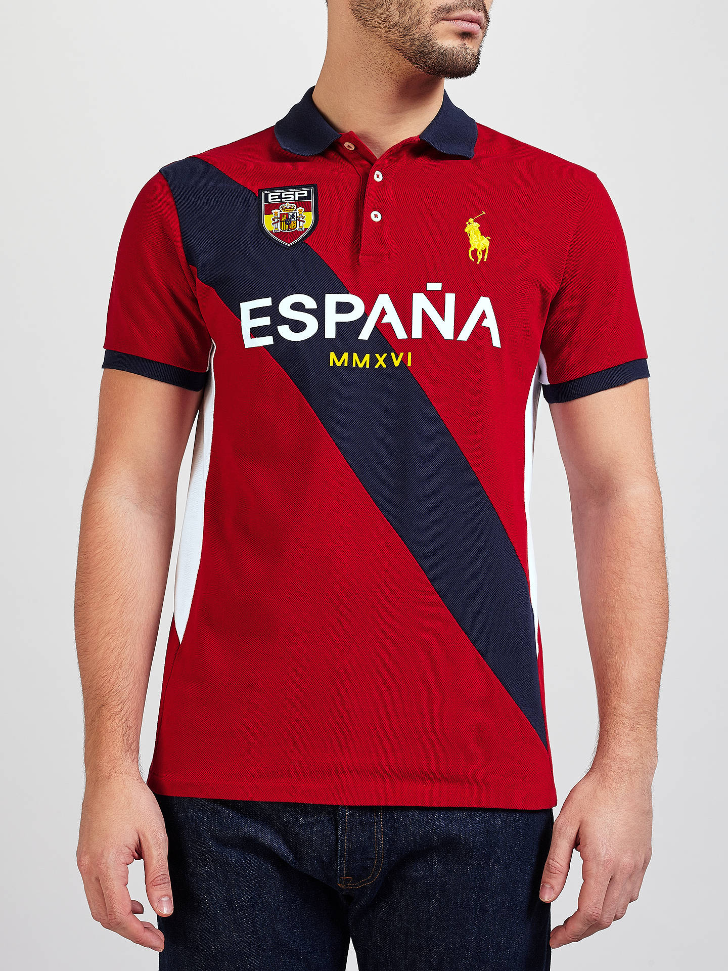 5cbcaf813154 Polo Ralph Lauren Spain Polo Shirt, Country Red/Multi at John Lewis ...