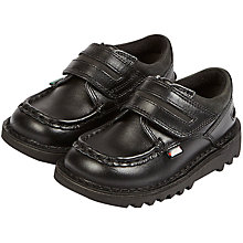 Buy Kickers Children's Cyba Strap Leather Shoes, Black Online at johnlewis.com
