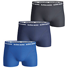 Buy Bjorn Borg Noos Plain Trunks, Pack of 3, Blue/Grey Online at johnlewis.com
