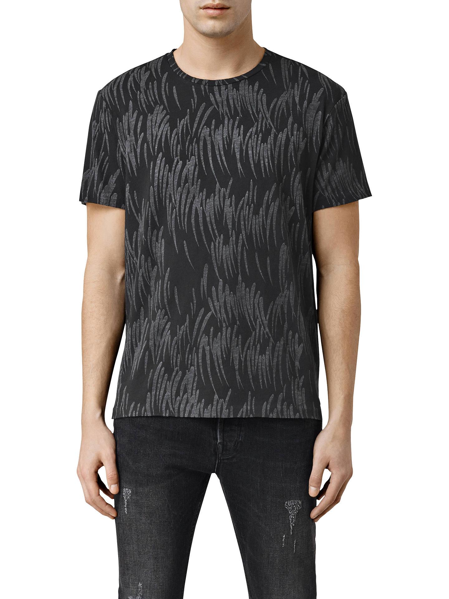 AllSaints Cyclone Printed Crew Neck T Shirt, Black at John