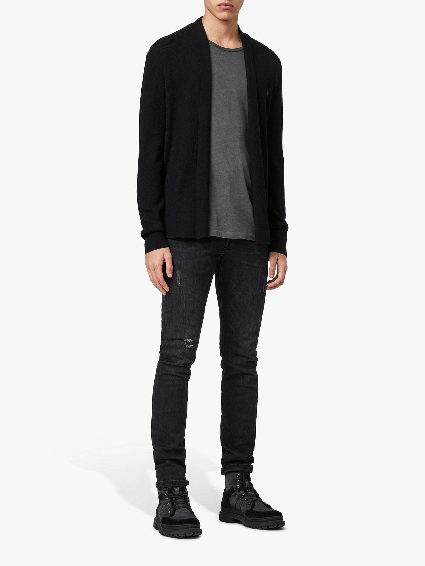 BuyAllSaints Mode Merino Cardigan, Black, XS Online at johnlewis.com