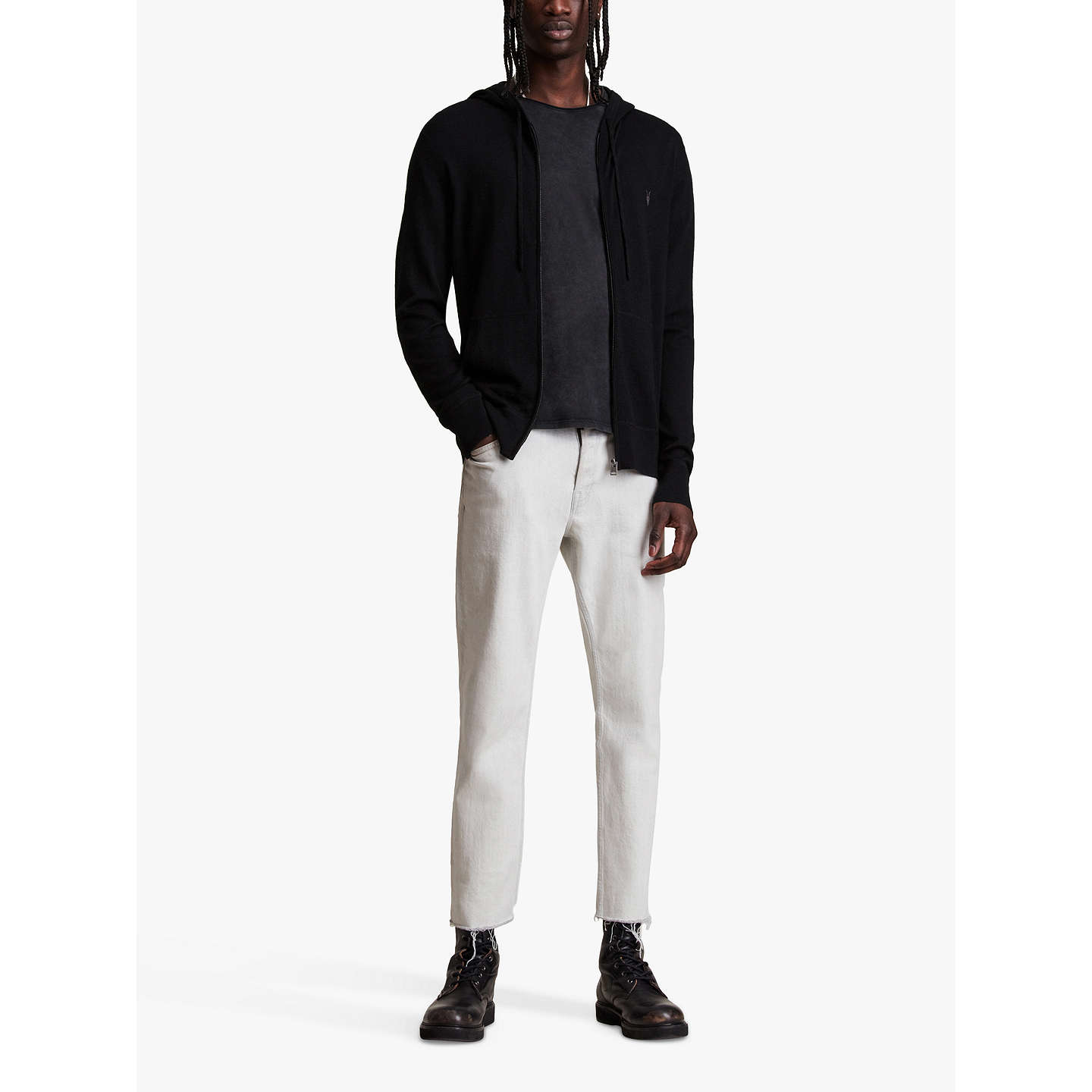 BuyAllSaints Mode Merino Wool Zip Up Hoodie, Black, XS Online at johnlewis.com