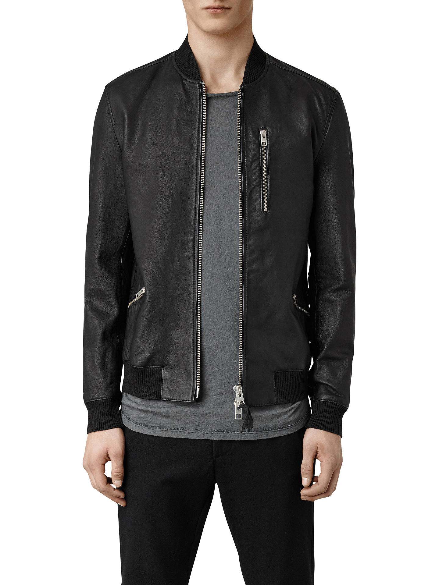 6ba93f624 AllSaints Utility Leather Bomber Jacket, Black at John Lewis & Partners
