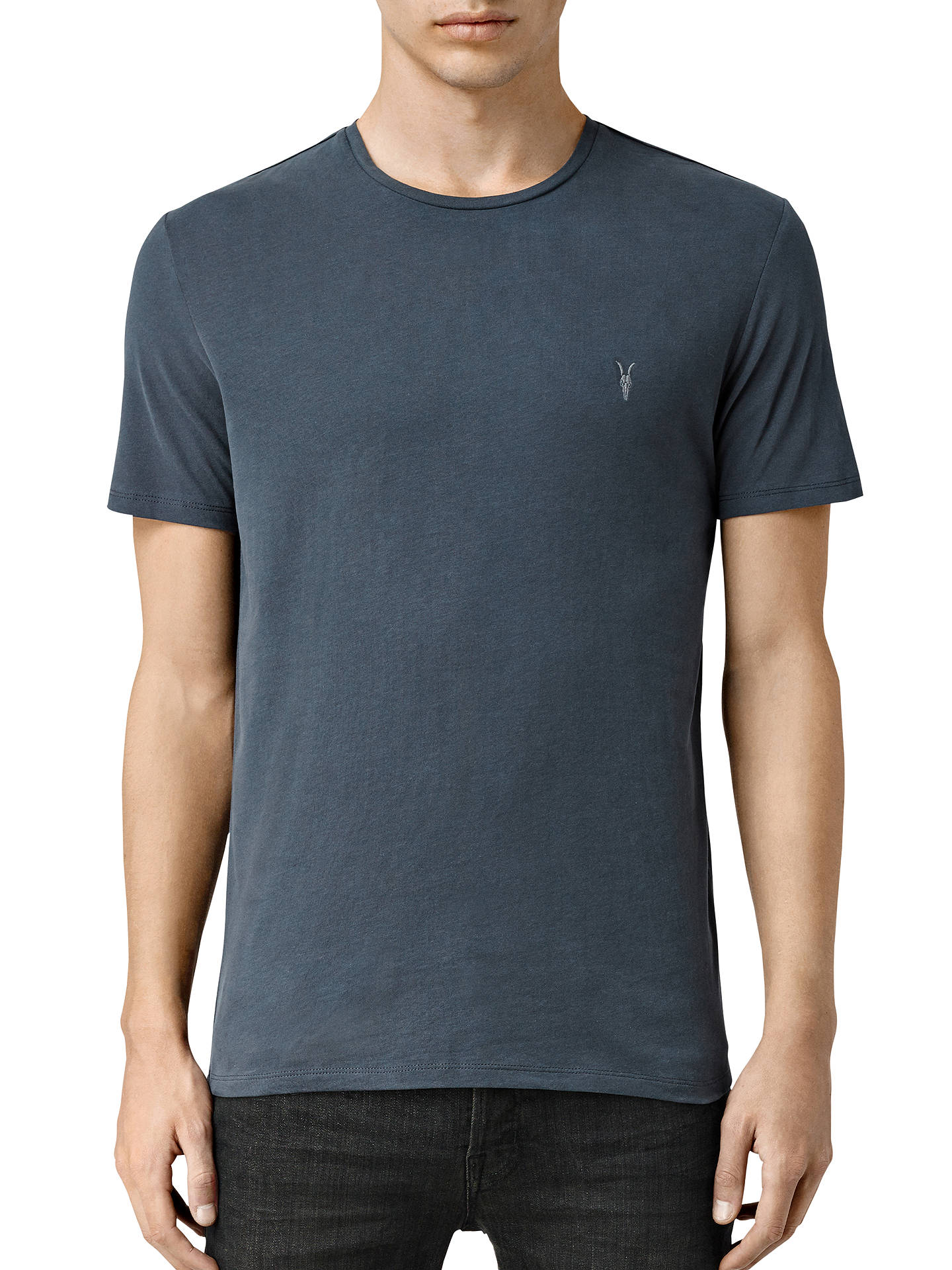 372b709a985260 Buy AllSaints Brace Tonic Crew Neck T-Shirt, Washed Navy, XS Online at ...