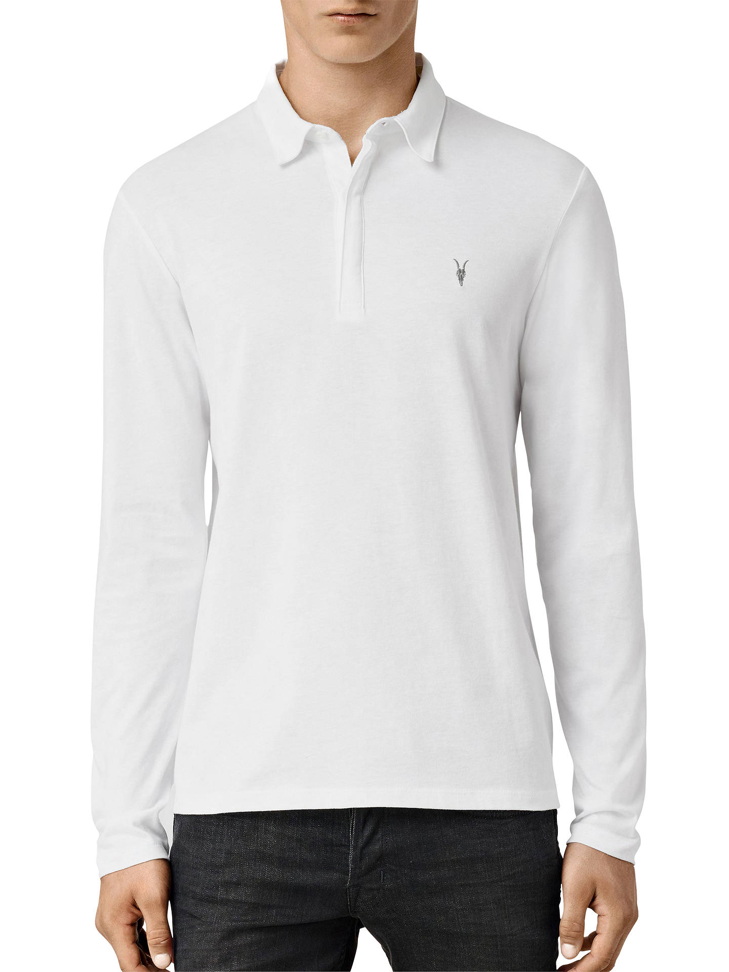 Allsaints Brace Long Sleeve Polo Shirt Optic White At John Lewis