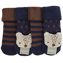 Buy John Lewis Baby Bear Rattle Socks, Pack of 2, Navy/Brown Online at johnlewis.com