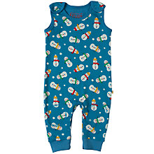 Buy Frugi Organic Baby Kneepatch Snowman Dungarees, Blue Online at johnlewis.com