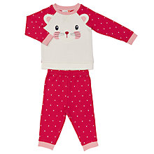 Buy John Lewis Baby Mouse Face Pyjamas, Pink/White Online at johnlewis.com
