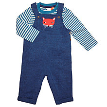 Buy John Lewis Baby Jersey Fox Dungaree Set, Navy/Multi Online at johnlewis.com