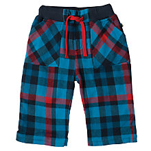 Buy Frugi Organic Baby Check Drawstring Trousers, Navy Online at johnlewis.com