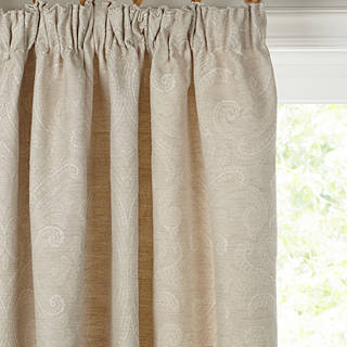 John Lewis Country Damask Pair Lined Pencil Pleat Curtains Natural