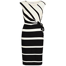 Buy Gina Bacconi Graduated Stripe Jersey Dress, Black/Ivory Online at johnlewis.com