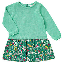 Buy John Lewis Baby Woodland Print Dress, Green/Pink Online at johnlewis.com
