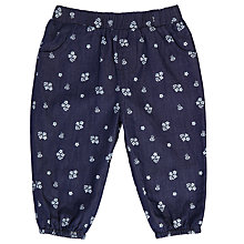 Buy John Lewis Baby Floral Chambray Trousers, Navy Online at johnlewis.com