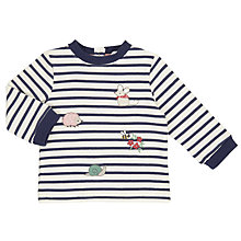 Buy John Lewis Baby Striped Embellished Sweatshirt, Navy/Cream Online at johnlewis.com