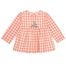 Buy John Lewis Baby Checked Blouse, Peach/White Online at johnlewis.com