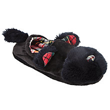 Buy John Lewis Children's Scottie Dog Slippers, Black/Tartan Online at johnlewis.com