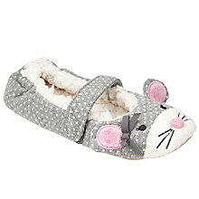 Buy John Lewis Children's Spot Mouse Slippers, Grey Online at johnlewis.com