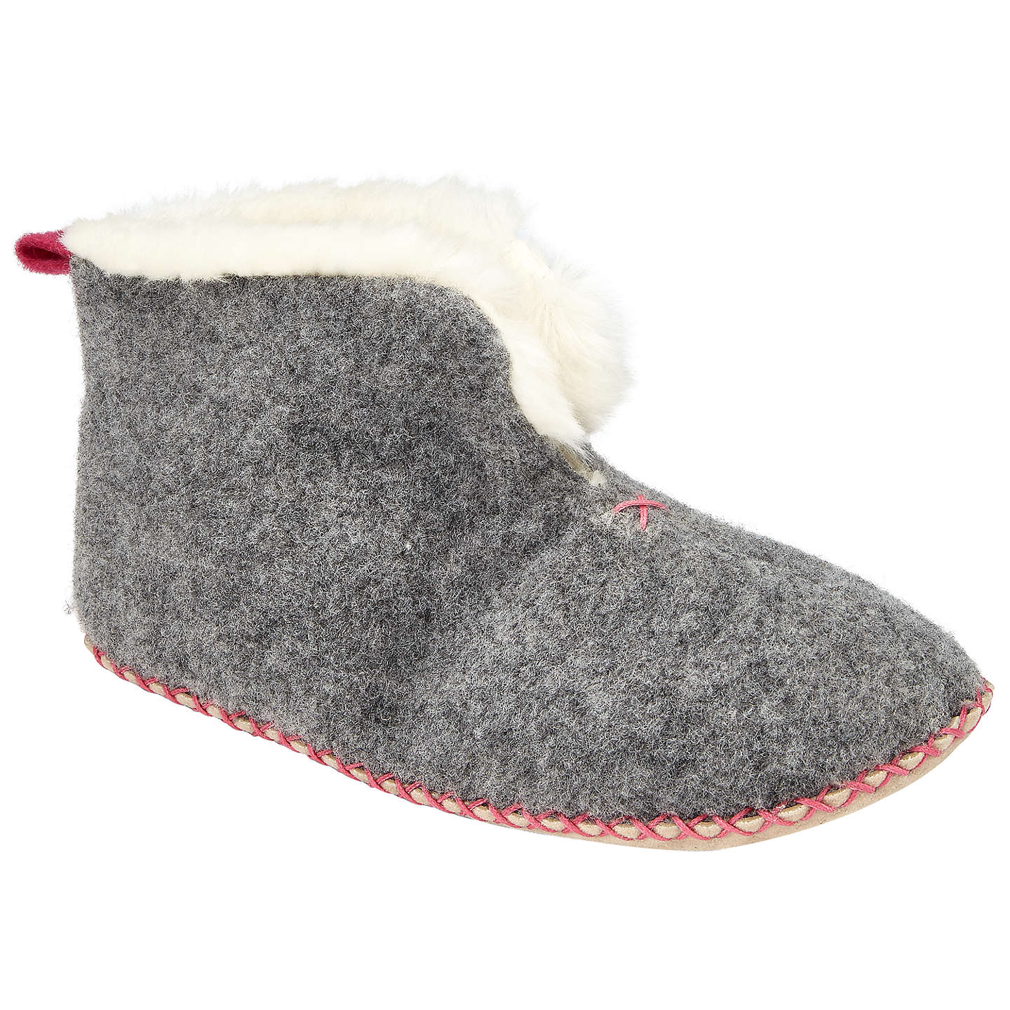 BuyJohn Lewis Children's Felt Bootie Slippers, Grey, 4 Jnr Online at johnlewis.com