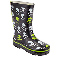 Buy John Lewis Children's Glow In The Dark Skull And Crossbones Wellington Boots, Black Online at johnlewis.com