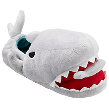 Buy John Lewis Children's Closed Back 3D Shark Slippers, Grey Online at johnlewis.com