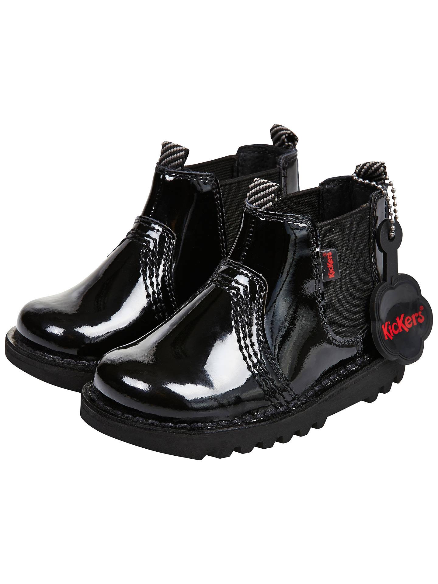 ffba5798 Buy Kickers Children's Chelsea Boots, Black Patent, 26 Online at  johnlewis.com