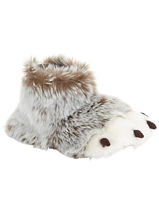 John Lewis & Partners Children's 3D Claw Boot Slippers, Brown/White