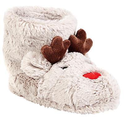 John Lewis & Partners Children's Rudolf the Reindeer Boot Slippers, Beige