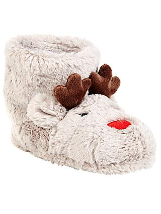 John Lewis & Partners Children's Rudolf the Reindeer Boot Slippers, Beige