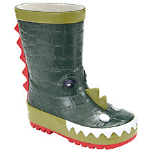 Buy John Lewis Children's Monster Wellington Boots, Green Online at johnlewis.com