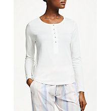Buy John Lewis Henley Ribbed Jersey Pyjama Top, Ivory Online at johnlewis.com
