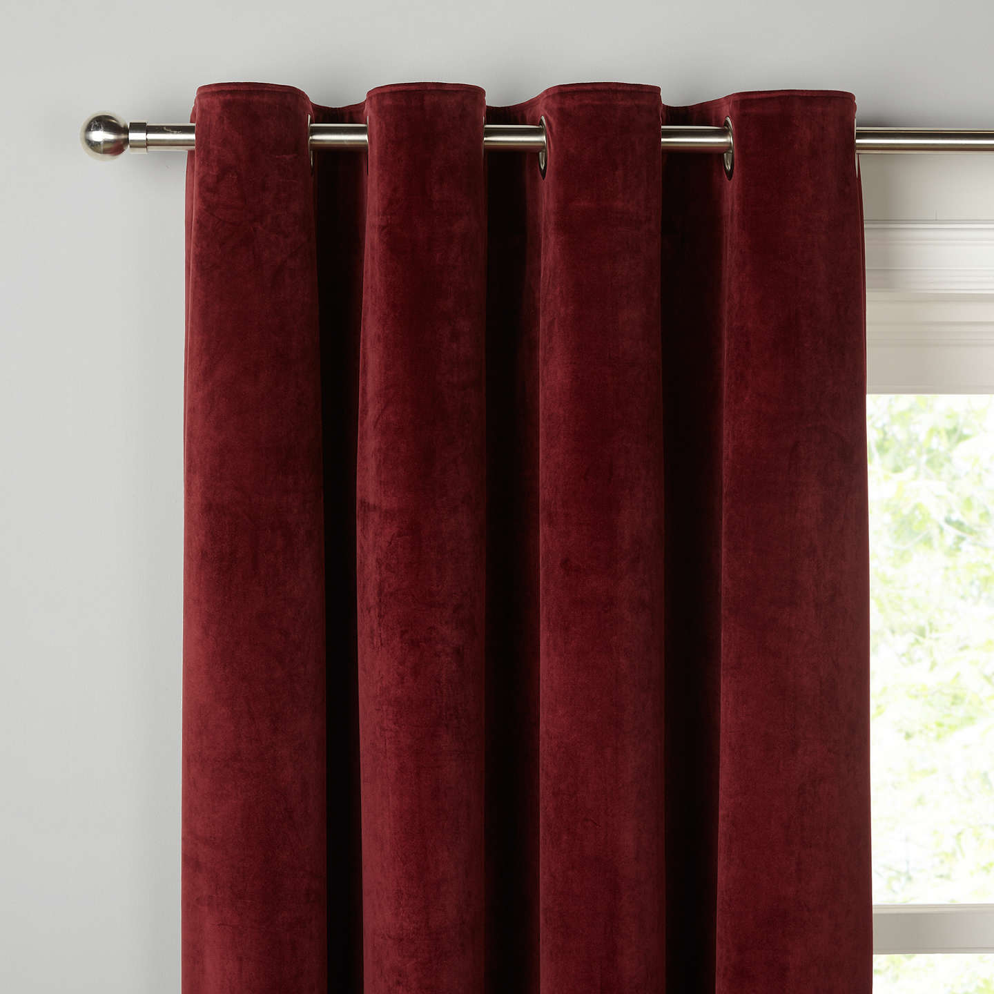 Buyjohn Lewis Lustre Velvet Pair Lined Eyelet Curtains, Bordeaux W167