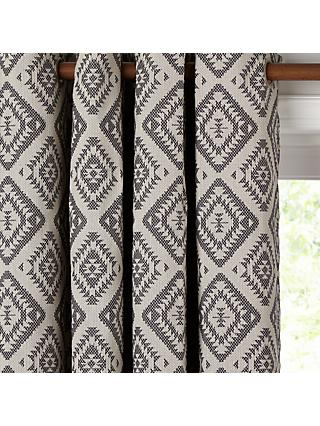 John Lewis & Partners Native Weave Pair Lined Eyelet Curtains, Steel