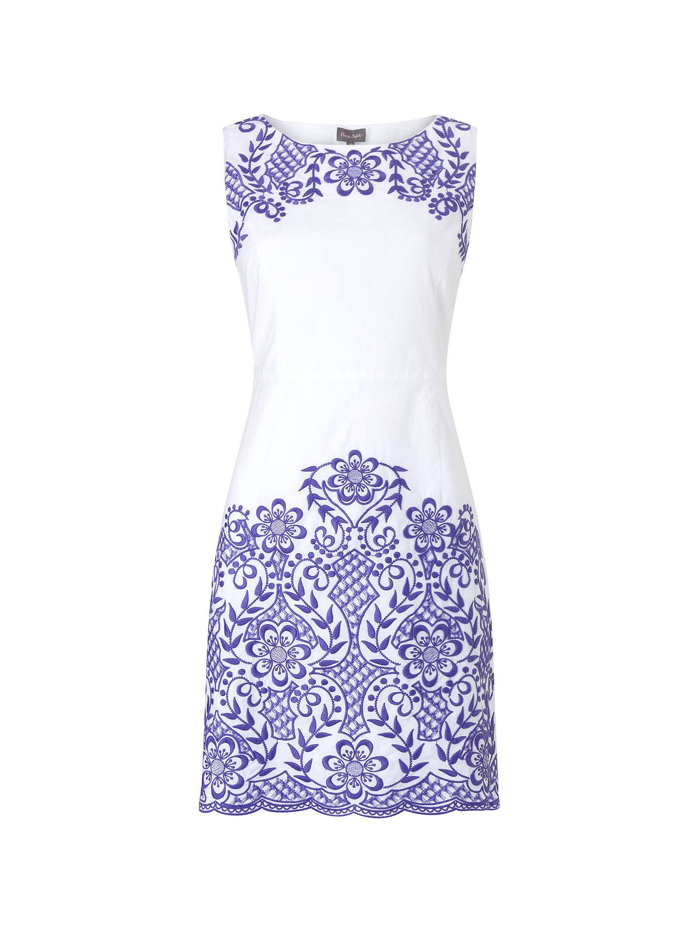 Phase Eight Eden Embroidered Dress Blue White At John Lewis Partners