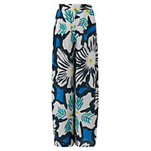 Buy East Dara Print Palazzo Trousers, Kingfisher Online at johnlewis.com