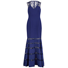 Buy Gina Bacconi Sequinned Lace And Crepe Maxi Dress, Navy Online at johnlewis.com