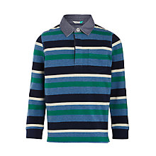 Buy John Lewis Boys' Lightweight Rugby Top, Blue/Multi Online at johnlewis.com