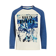 Buy John Lewis Boys' North Mountain Wolf T-Shirt, Cream/Navy Online at johnlewis.com
