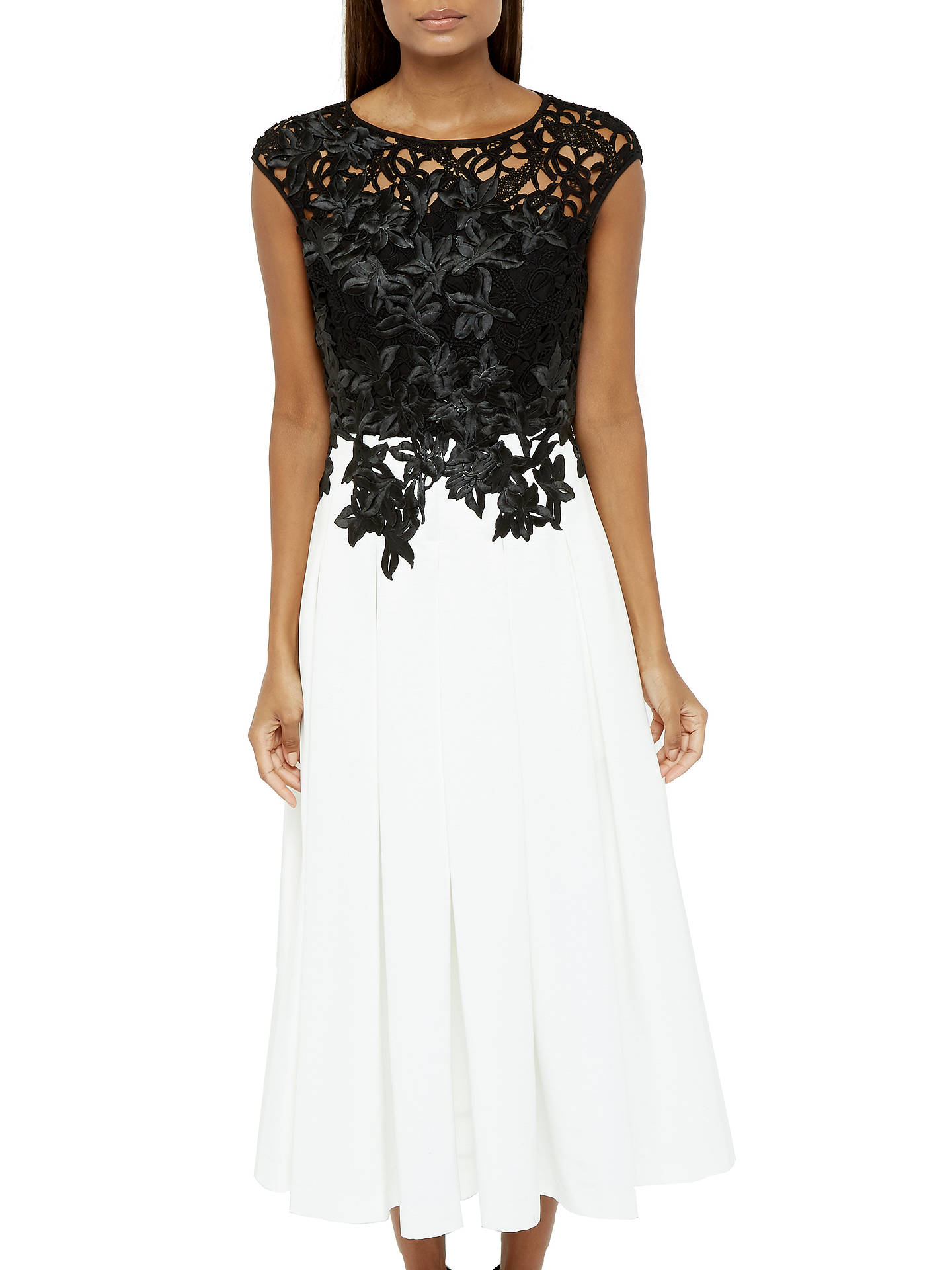 Ted Baker Ilsa Applique Lace Bodice Dress Blackwhite At