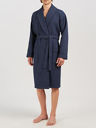 John Lewis & Partners Pure Cotton Waffle Robe, Navy