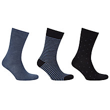 Buy John Lewis Bamboo Denim Socks, Pack of 3, Grey Online at johnlewis.com