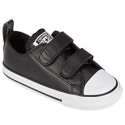 Converse Children's Low Top Leather Riptape Trainers, Black