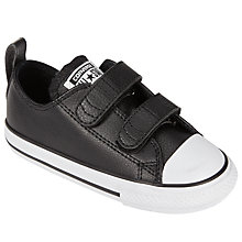 Buy Converse Children's Low Top Leather Riptape Trainers, Black Online at johnlewis.com