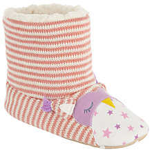 Buy John Lewis Children's Owl Boot Slippers, Pink/Cream Online at johnlewis.com