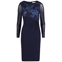 Buy Gina Bacconi Two Tone Embroidered Sequin Mesh Dress, Navy Online at johnlewis.com