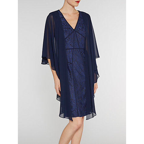 Buy Gina Bacconi Short Lace Dress With Contrast Bands, Navy Online at johnlewis.com
