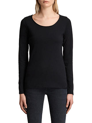 Buy AllSaints Long Sleeve Vetten T-Shirt, Black, XS Online at johnlewis.com