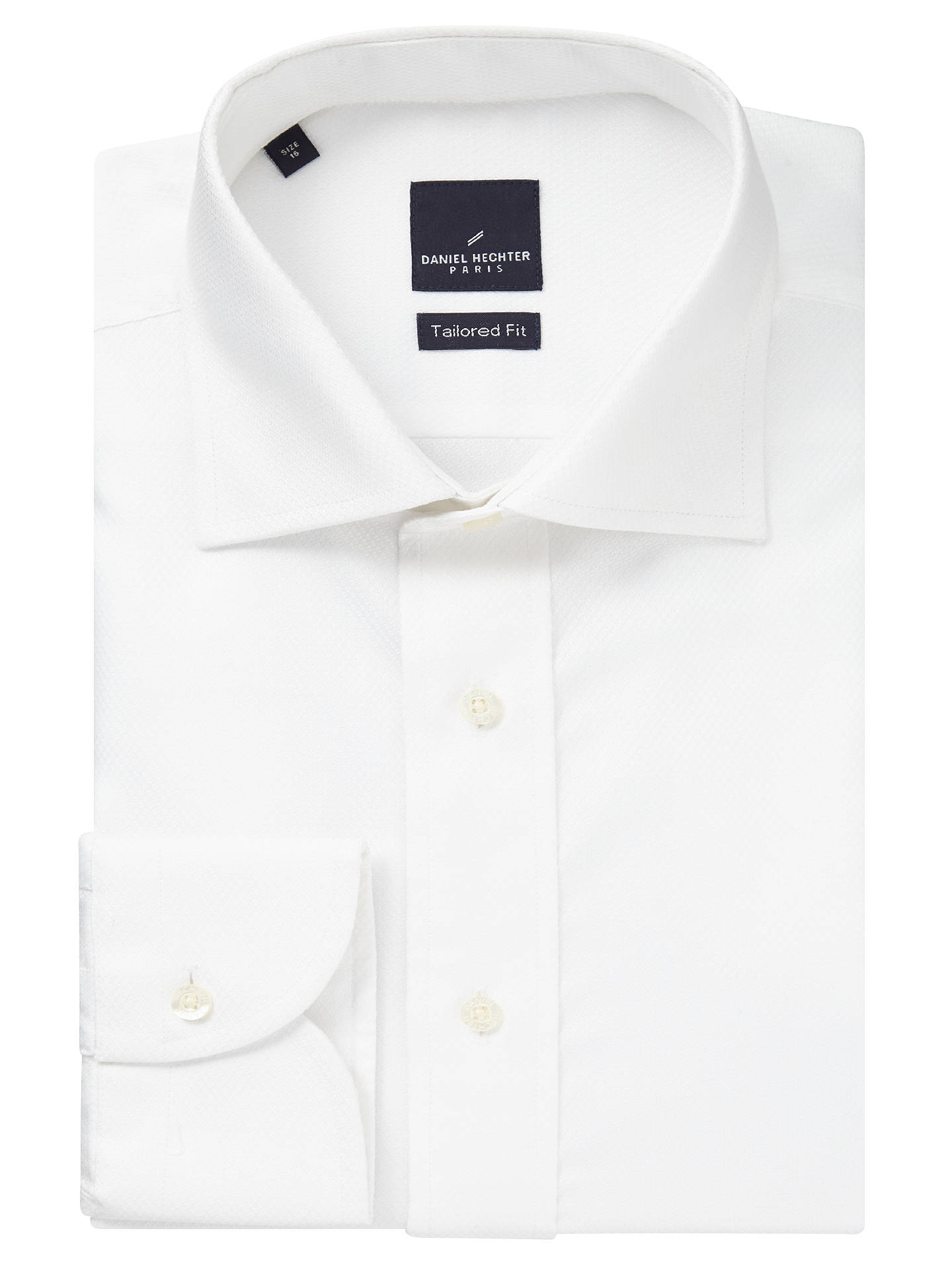 buy online 879b3 f3564 Daniel Hechter Jacquard Cotton Tailored Fit Shirt, White at ...
